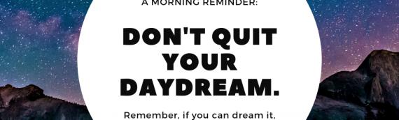 A Morning Reminder…….
